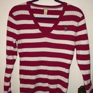 U.S. polo Assn. pink/white sweater size Med